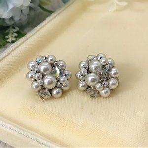 Vintage 1950s Cluster Bead Earrings Japan
